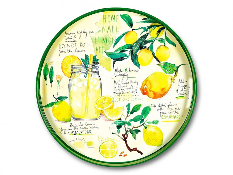 Round Lacquer Serving Tray - Lemonade by rockflowerpaper - 2