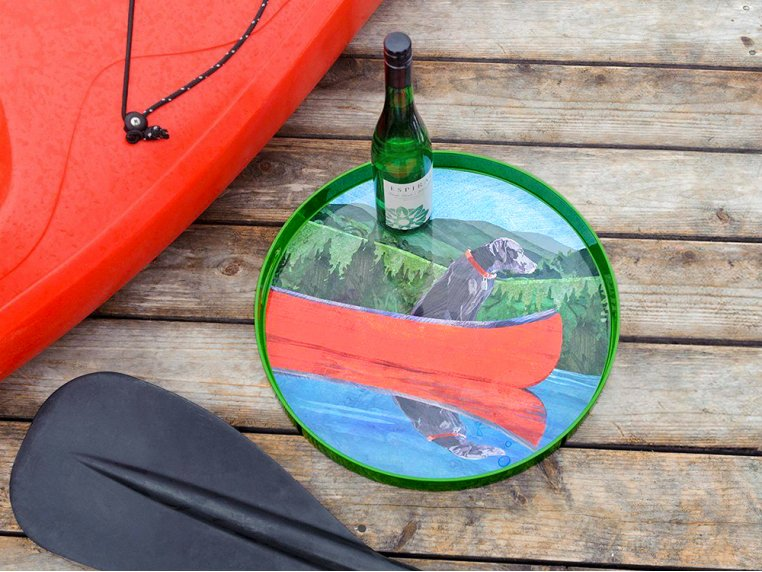 Round Lacquer Serving Tray - Lake Labrador by rockflowerpaper - 1