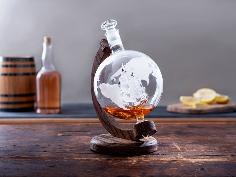 Hand-Blown Glass Decanter & Wood Base by Prestige Decanters - 1
