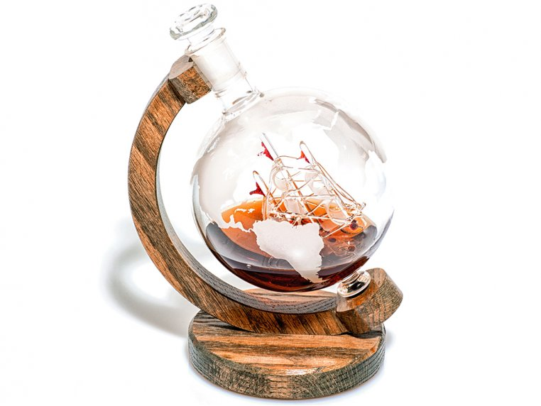 Hand-Blown Glass Decanter & Wood Base by Prestige Decanters - 4