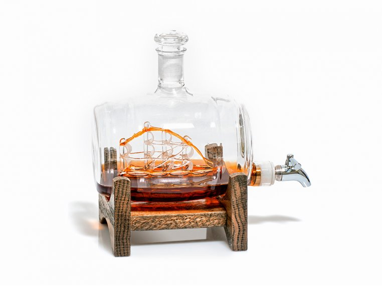 Hand-Blown Glass Decanter & Wood Base by Prestige Decanters - 8