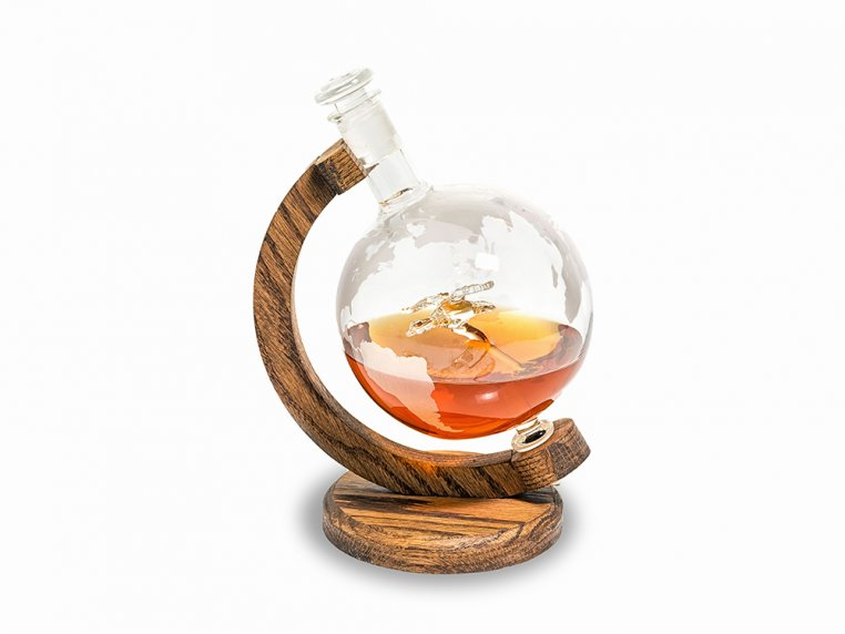 Hand-Blown Glass Decanter & Wood Base by Prestige Decanters - 10