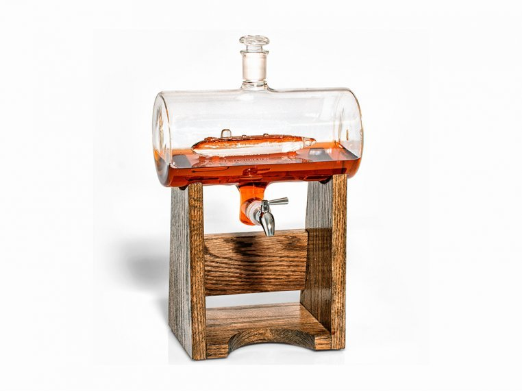 Hand-Blown Glass Decanter & Wood Base by Prestige Decanters - 13