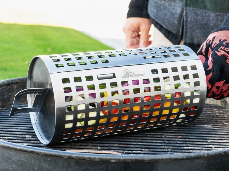 Stainless Steel Rolling Grill Basket by BBQ Dragon - 1