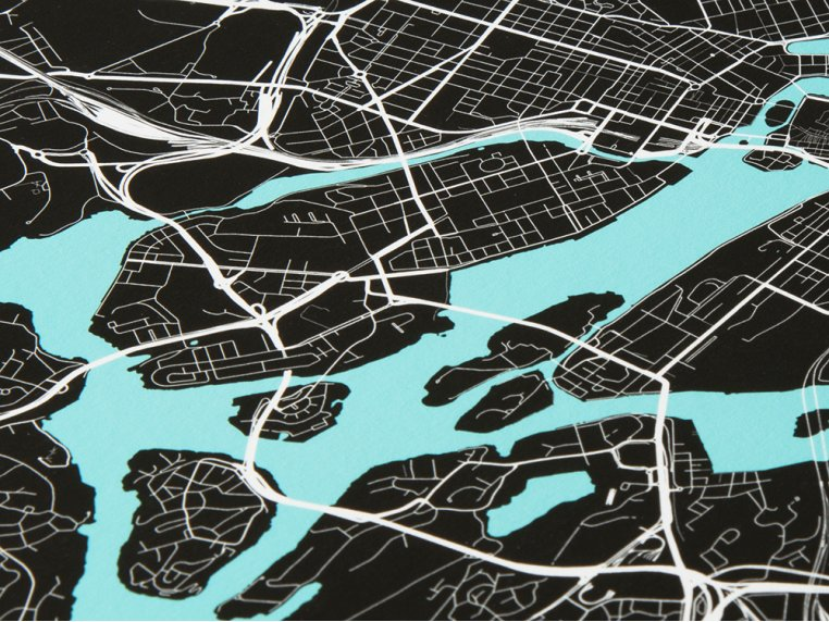 Modern City Map Art Print by Point Two Design - 2