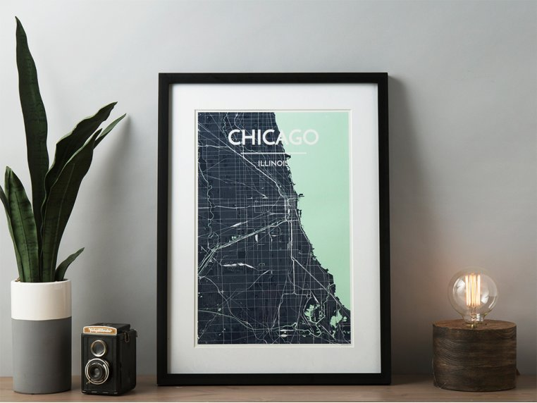Modern City Map Art Print by Point Two Design - 1