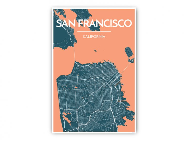 Modern City Map Art Print by Point Two Design - 4