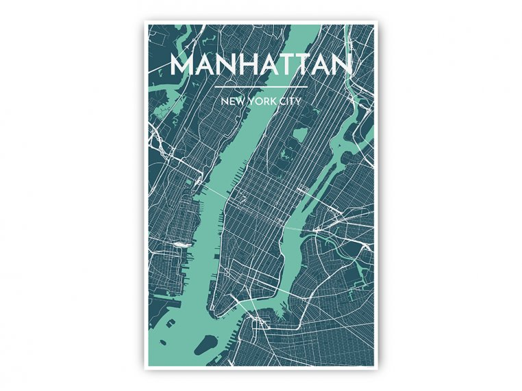 Modern City Map Art Print by Point Two Design - 6