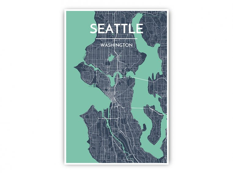 Modern City Map Art Print by Point Two Design - 7
