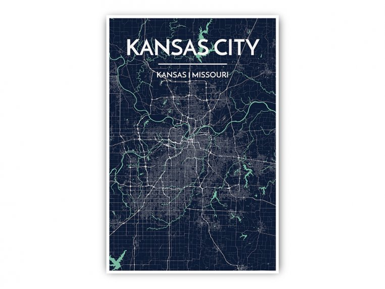 Modern City Map Art Print by Point Two Design - 24