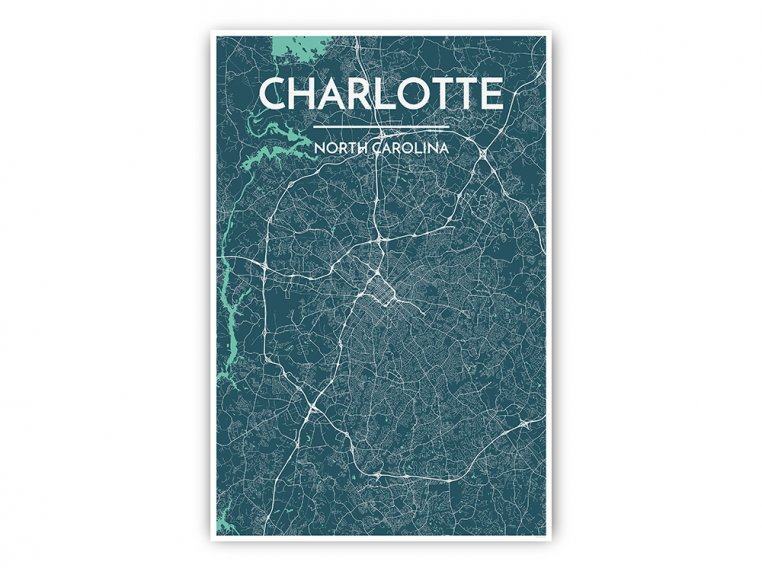 Modern City Map Art Print by Point Two Design - 31