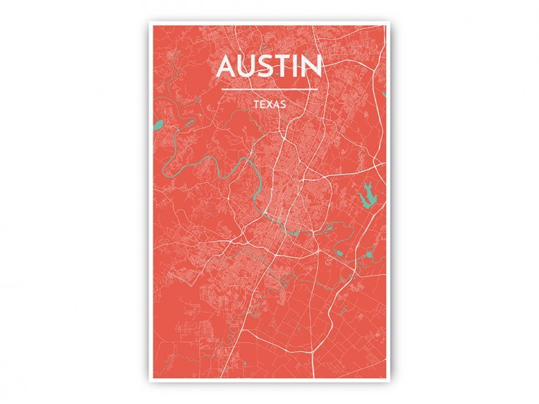 Modern City Map Art Print by Point Two Design - 32