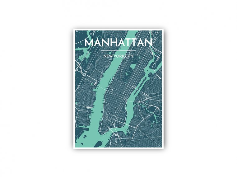 Modern City Map Art Print by Point Two Design - 62