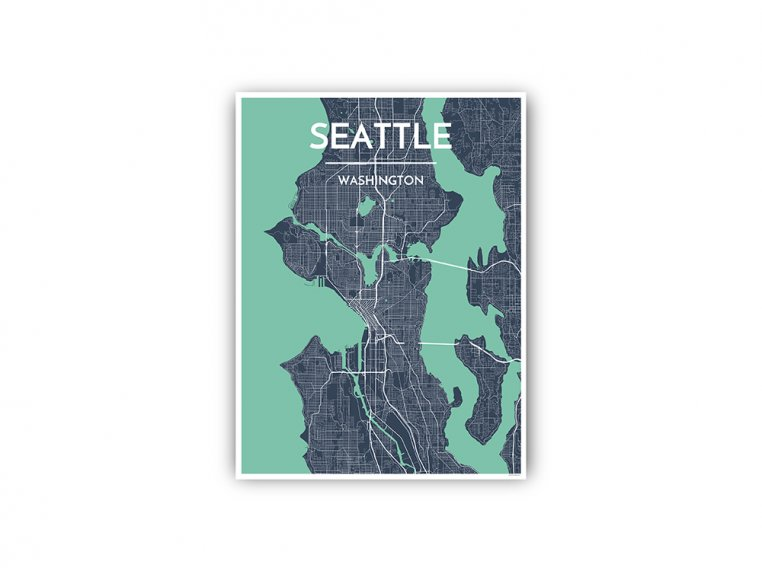 Modern City Map Art Print by Point Two Design - 63