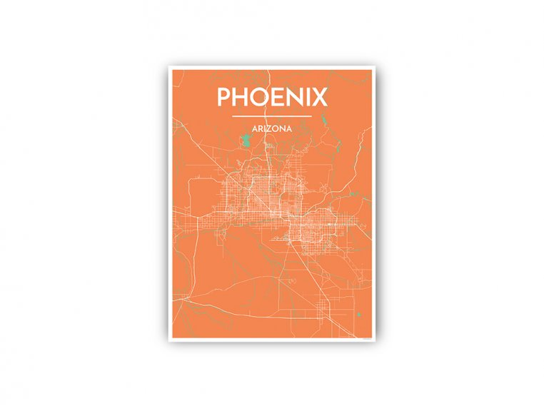 Modern City Map Art Print by Point Two Design - 73