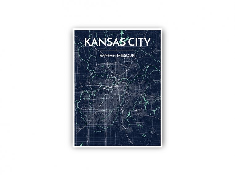 Modern City Map Art Print by Point Two Design - 80