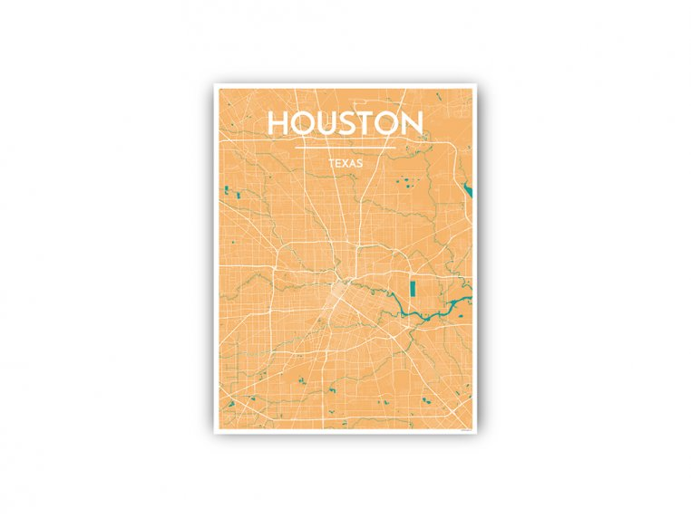 Modern City Map Art Print by Point Two Design - 82
