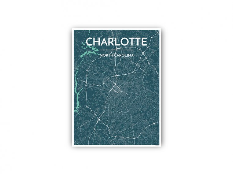 Modern City Map Art Print by Point Two Design - 87