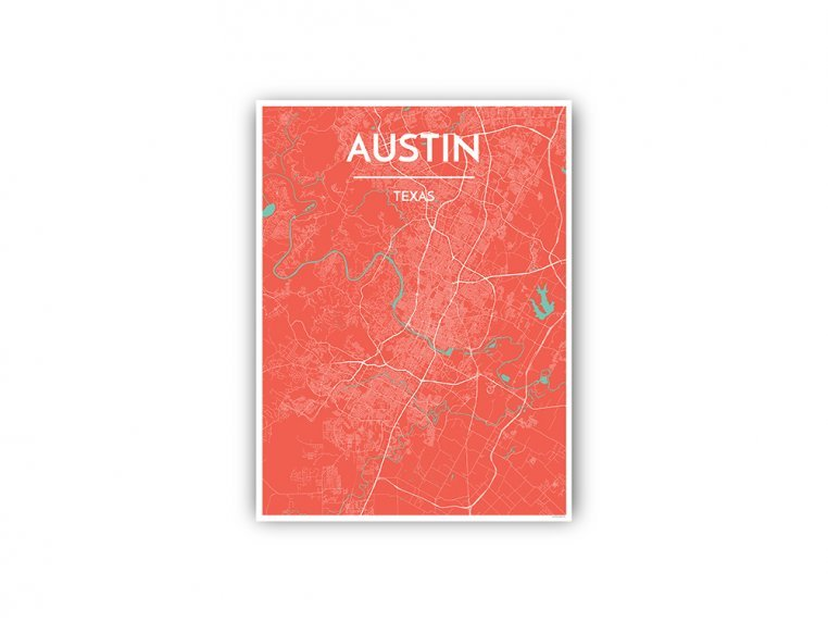 Modern City Map Art Print by Point Two Design - 88