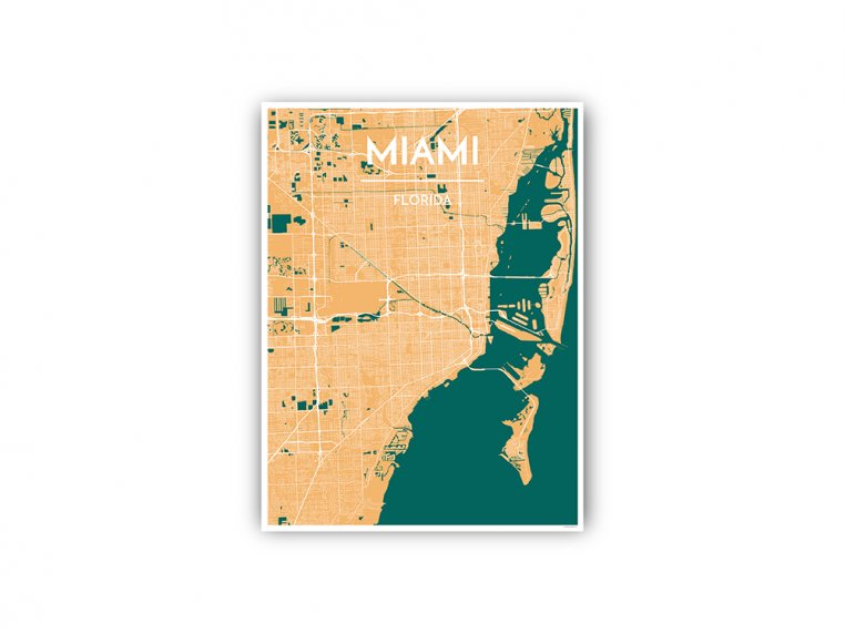 Modern City Map Art Print by Point Two Design - 90