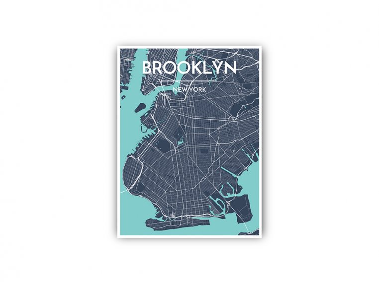 Modern City Map Art Print by Point Two Design - 92