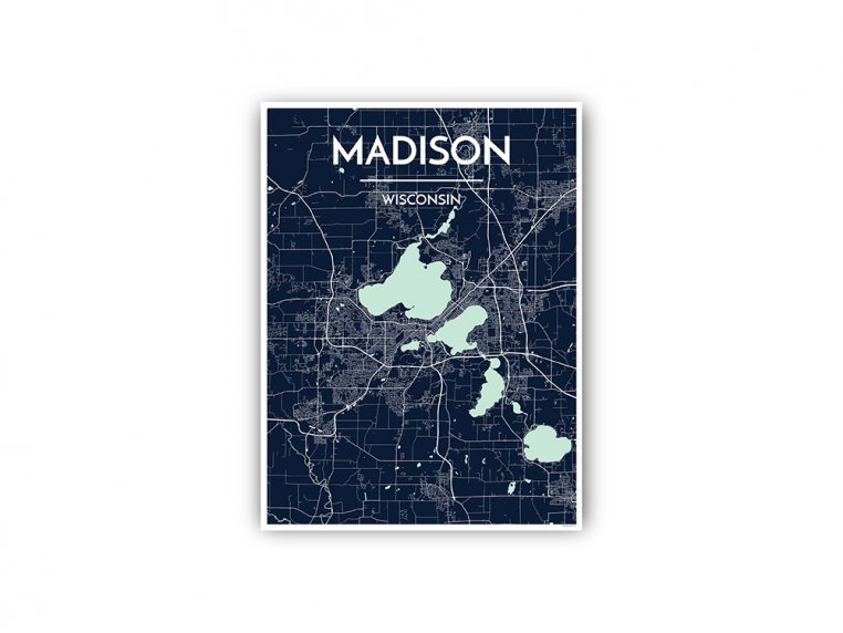 Modern City Map Art Print by Point Two Design - 93
