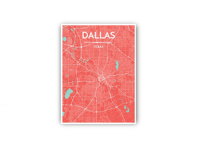 Modern City Map Art Print by Point Two Design - 94