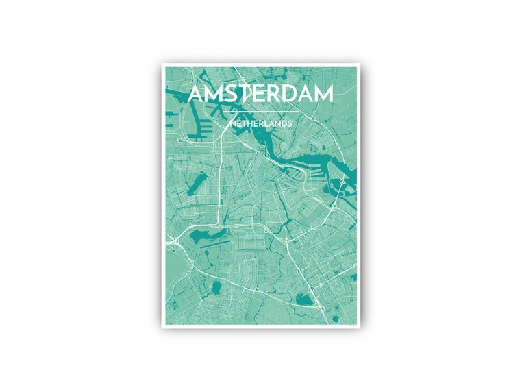 Modern City Map Art Print by Point Two Design - 102