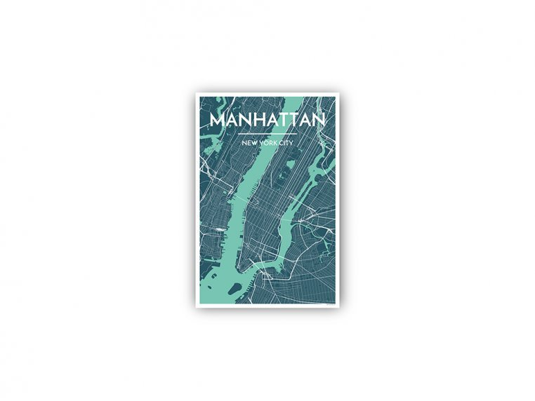 Modern City Map Art Print by Point Two Design - 117