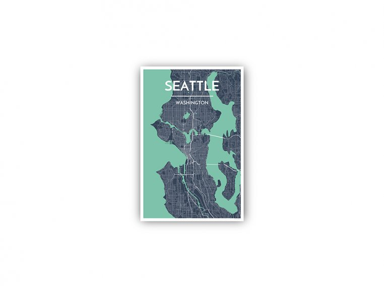 Modern City Map Art Print by Point Two Design - 118