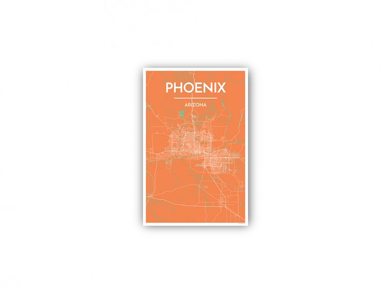 Modern City Map Art Print by Point Two Design - 128