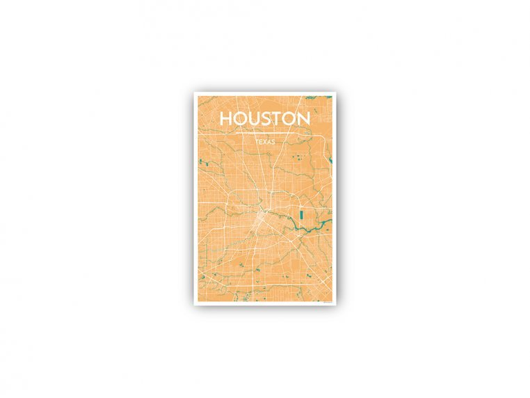 Modern City Map Art Print by Point Two Design - 137