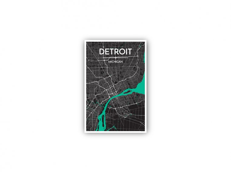 Modern City Map Art Print by Point Two Design - 138