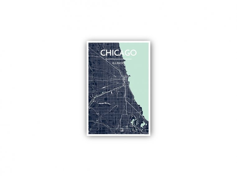 Modern City Map Art Print by Point Two Design - 141