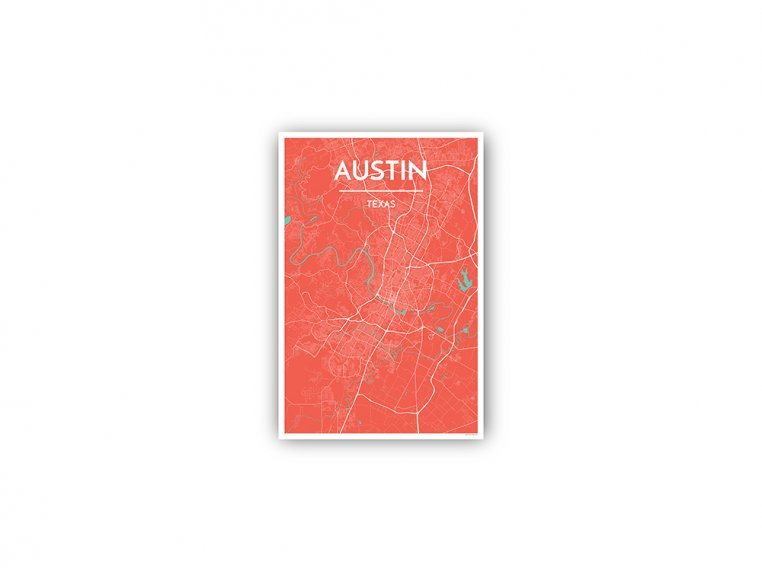 Modern City Map Art Print by Point Two Design - 143