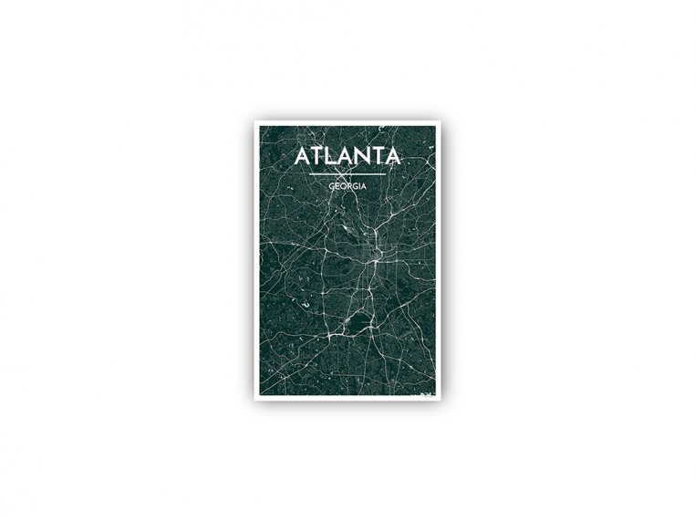 Modern City Map Art Print by Point Two Design - 144