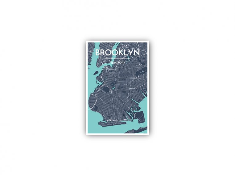 Modern City Map Art Print by Point Two Design - 147