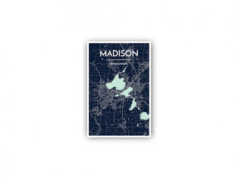 Modern City Map Art Print by Point Two Design - 148