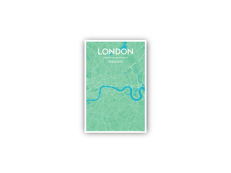 Modern City Map Art Print by Point Two Design - 155