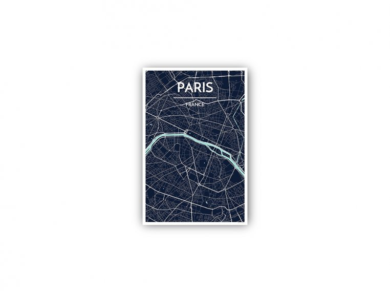Modern City Map Art Print by Point Two Design - 156