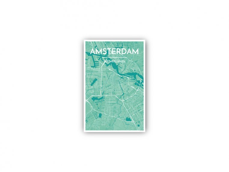 Modern City Map Art Print by Point Two Design - 157