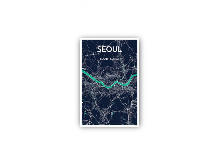 Modern City Map Art Print by Point Two Design - 168