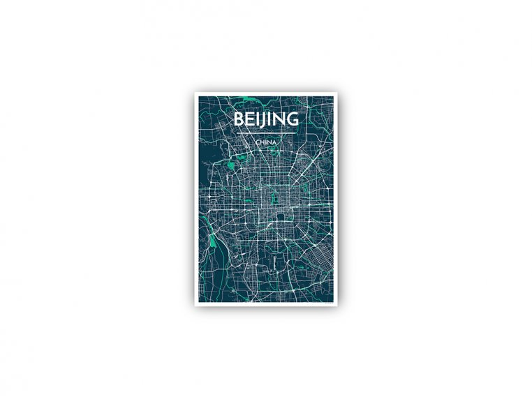 Modern City Map Art Print by Point Two Design - 169