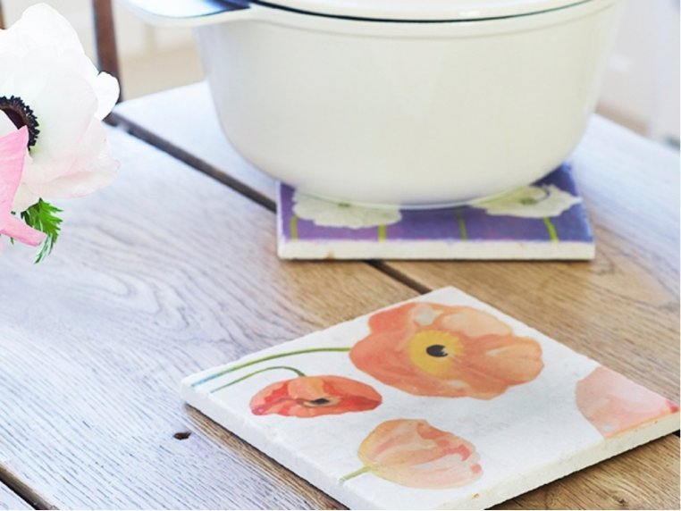 Floral Marble Trivet by India & Purry by Jessica Hollander - 1