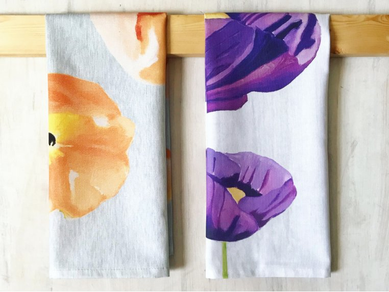Floral Cotton Tea Towel by India & Purry by Jessica Hollander - 1