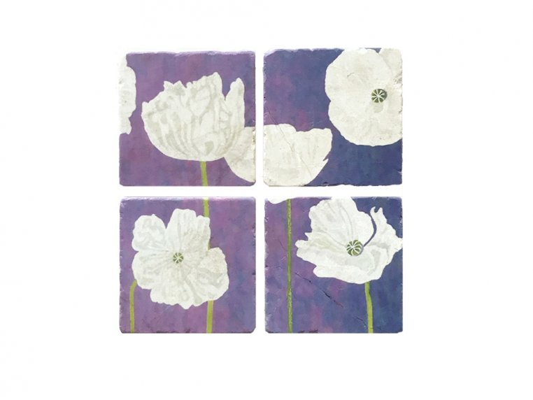 Floral Marble Coaster Set by India & Purry by Jessica Hollander - 4