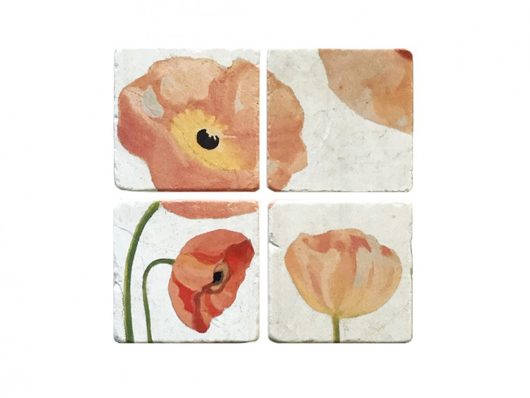 Floral Marble Coaster Set by India & Purry by Jessica Hollander - 6