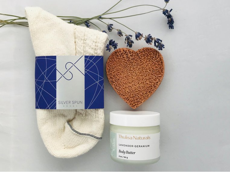 Socks, Stone and Body Butter Gift Set by SILVER SPUN® GOODS - 1