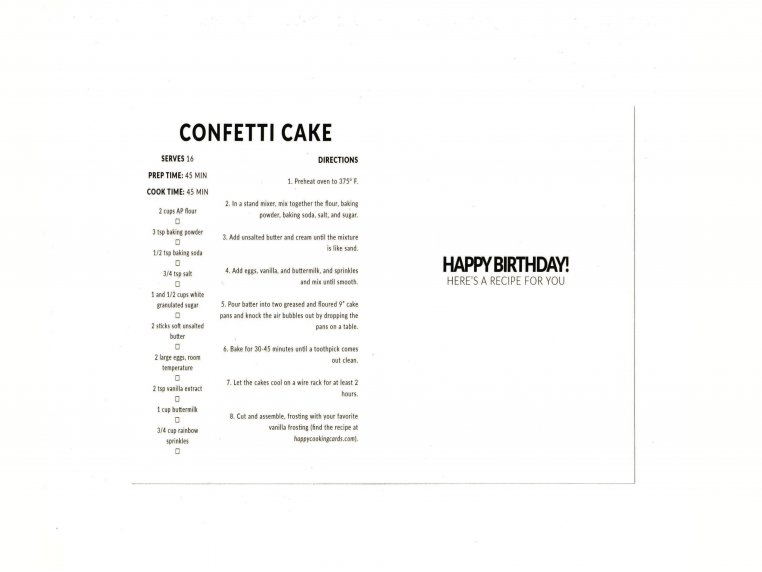 Detachable Recipe Birthday Card Set by Happy Cooking Cards - 3