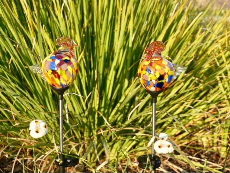 Solar Glass Rooster Garden Stakes Set by ApricotMint - 1